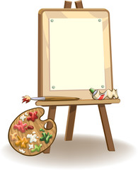 Easel with blank paper for painting