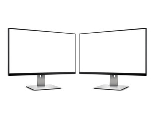 Two Computer Monitors with blank screen Mockup Isolated on White