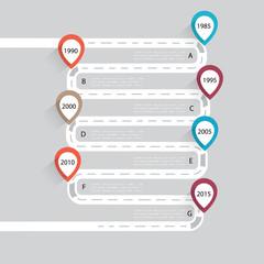 Timeline infographic, Flat design template, vector