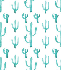Watercolor cactus seamless pattern. Colorful vibrant turquoise cactus succulents