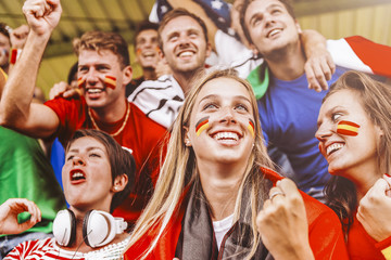 Supporters from Multiple Countries at Stadium All Together
