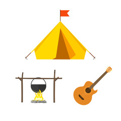 Camping equipment vector set isolated on white background, camping icons flat style, camping tent, campfire cauldron, camp fire cartoon illustration design