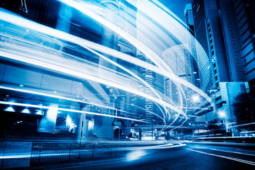 Light trails in the downtown district,hong kong