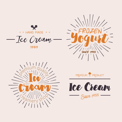 Ice Cream Design Badges and Labels. Vector Illustration. Ice Cream Logo design element. Retro label for Ice Cream Shop. Vintage Emblem Creamery. Ice Cream and Frozen Yogurt Logos. Summer badges.