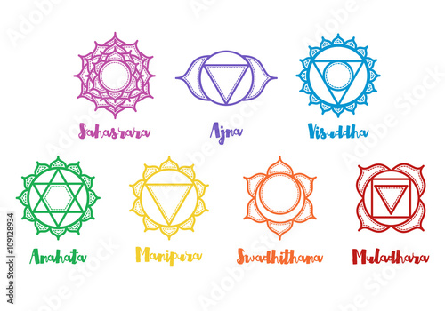 Isolated Indian Ornamental 7 Chakra Icons Set Chakras Used In