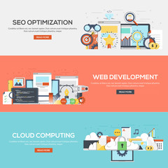 Flat designed banners- Seo, Web development and Cloud computing