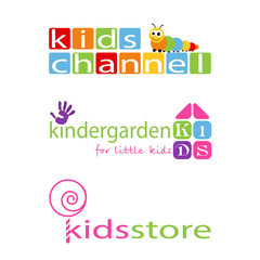 Kids Places Vector Logo Template