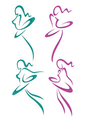 vector collection of abstract women in ballet pose for your logo