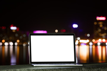 Notebook on the background of the city at night