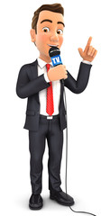 3d businessman reporter with microphone