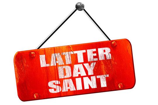 latter day saint, 3D rendering, vintage old red sign