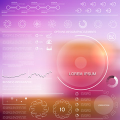 Infographics templates with blurred background, vector