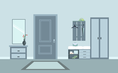 Modern interior hallway with furniture. Flat style.