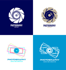 Photography camera logo icon set