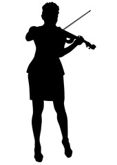 Girl with violin on a white background
