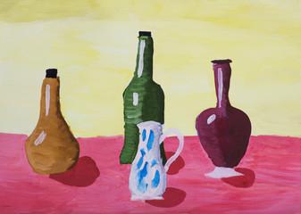 """Детский рисунок """"Натюрморт с бутылками и графином"""""""