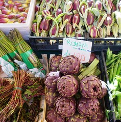 Purple artichokes (carciofi) at an Italian farmers market