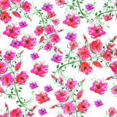 Паттерн, бесшовный, декоративный, винтажный фон акварелью  цветы.