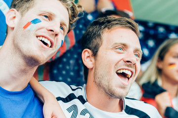 French and German fans at the stadium together