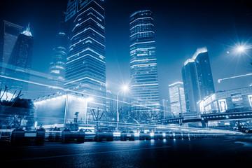 shanghai the bund,blue toned image.