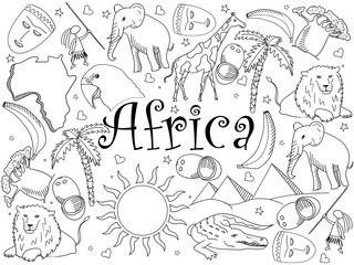 Africa coloring book vector illustration