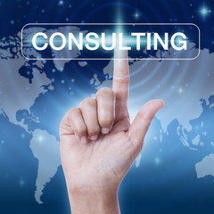 hand pressing consulting sign on virtual screen. business concept
