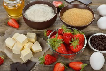 Ingredients for baking strawberries cake