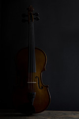 Low key violin in vertical position with side lighting