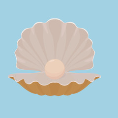 Scallop seashell with pearl illustration