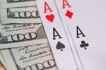 four poker aces with us dollar