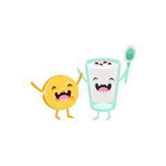 Yoghurt And Biscuit Cartoon Friends