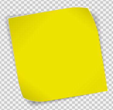 Yellow paper sticker over transparent background