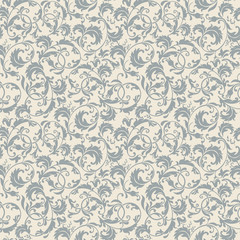 seamless victorian pattern in blue, grey and beige