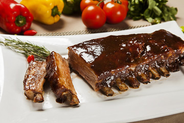 delicious roast pork rib won white dish