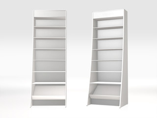 3D rendering of white Shelves isolate object.