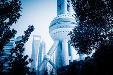 Oriental Pearl Tower ,blue toned image.