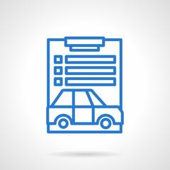 Car loan document blue line vector icon