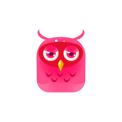 Pink Sad Owl Chick Square Icon