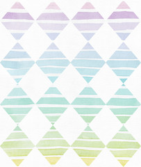 Simple vertical template with handdrawn ink triangles made in freehand style, with stripe gradient texture, imperfect, grainy, bright, on white watercolor paper, illustration for your presentation