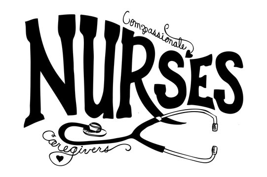 nurses typography and stethoscope vector, national nurses day