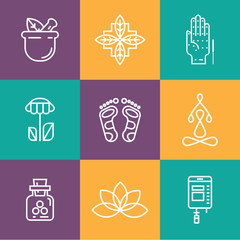 Colorblock Alternative Medicine icons.