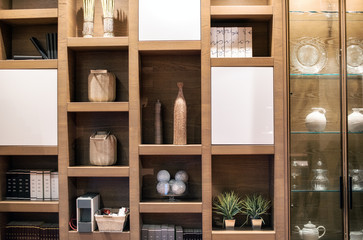 Wooden interior wall unit with ornaments