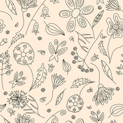 Floral seamless pattern with black contours of wild flowers leaves and butterflies on beige background