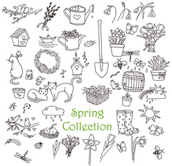 Spring doodles set. Line art icons collection