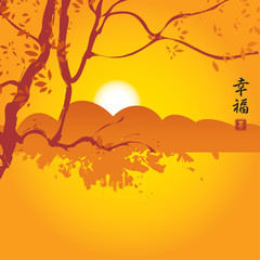 China landscape with mountains and tree branch. Hieroglyphs , Happiness, Tea