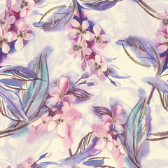 Watercolor Seamless Pattern with Blooming Twigs