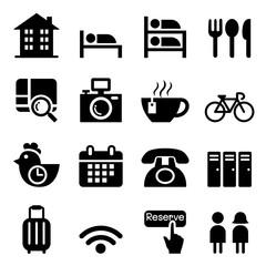 Hostel & Hotel icon set