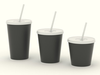 Several different paper cup set with black blank for design. Isolated on background. High resolution 3d illustration