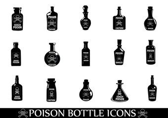Poison icons,Potion Bottle,Medicine bottles vector icons set