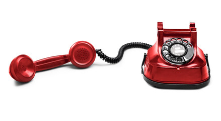 Old Red telephone (isolated) with shadow (clipping path)